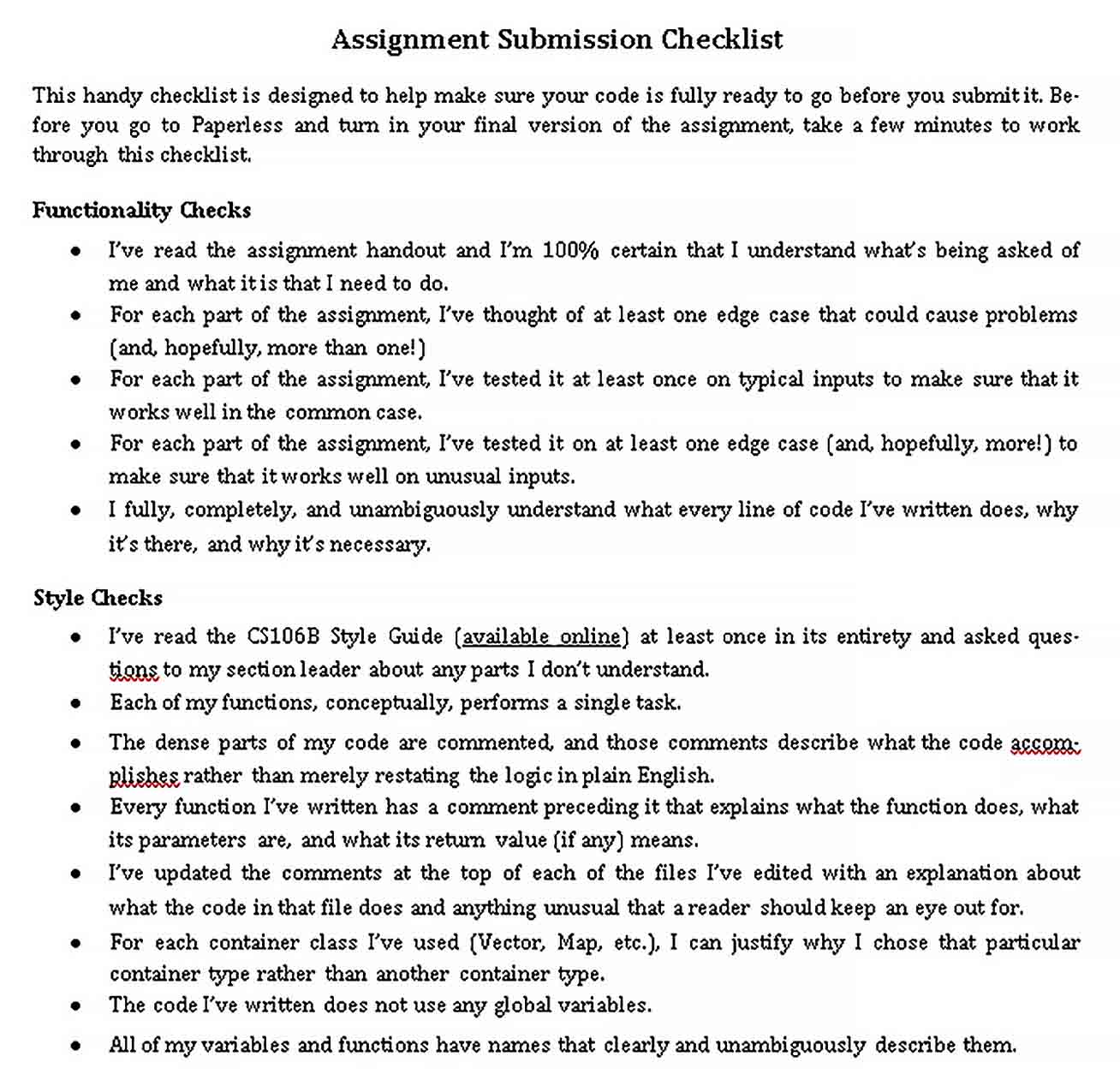 Assignment Submission Checklist