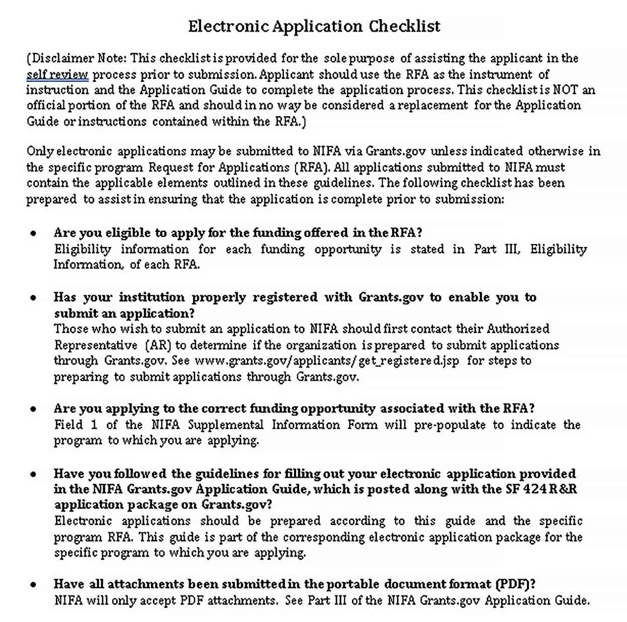 Electronic Application Checklist