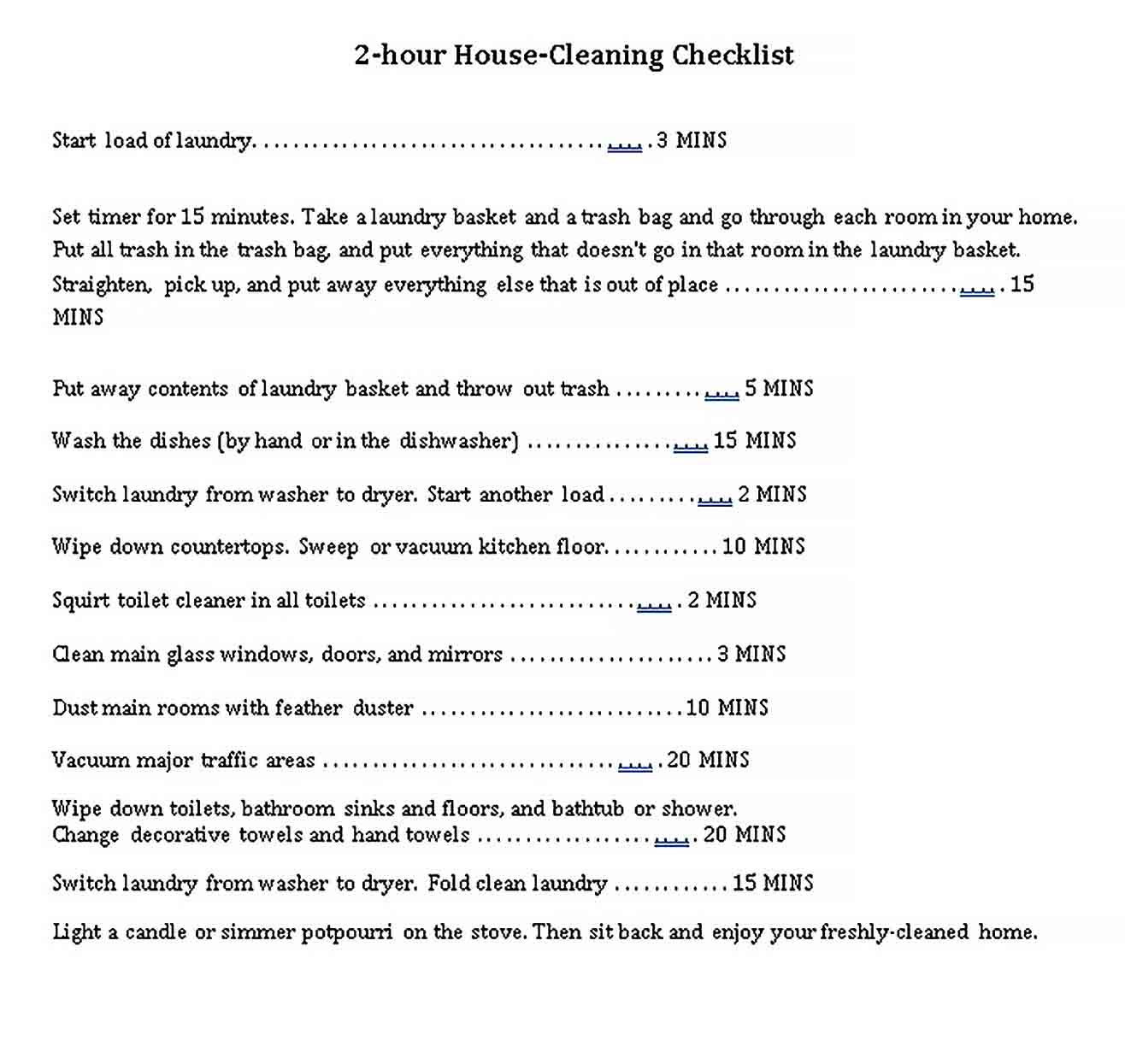 Best House Cleaning Checklist Template