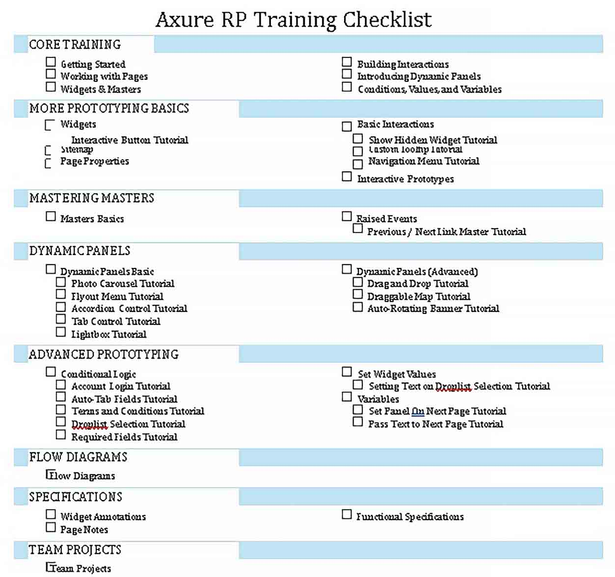 Template Axure Training Checklist Free PDF Format Template Dowload