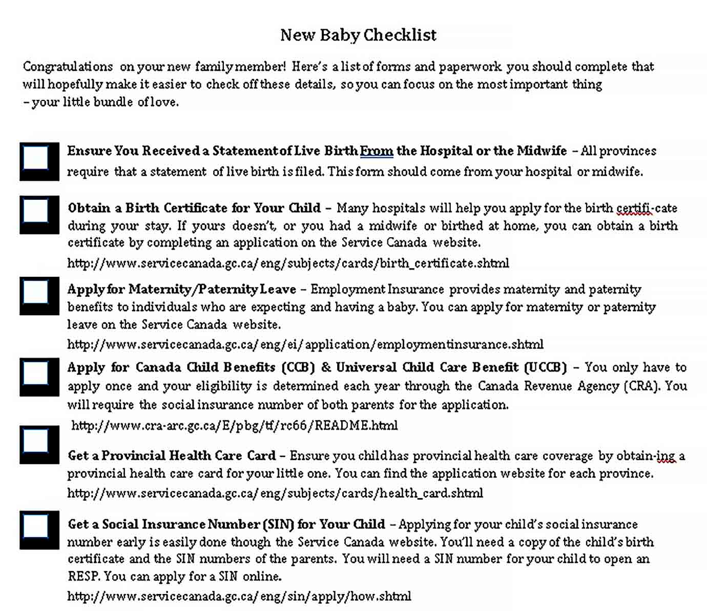 Template Baby To Do Checklist Sample