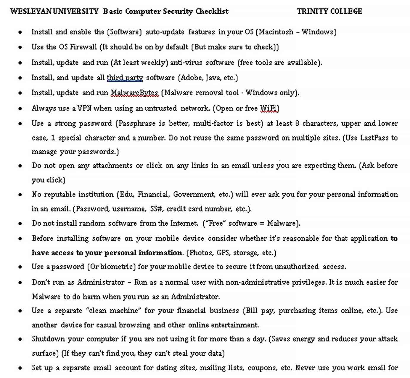 Template Basic Computer Security Checklist Example
