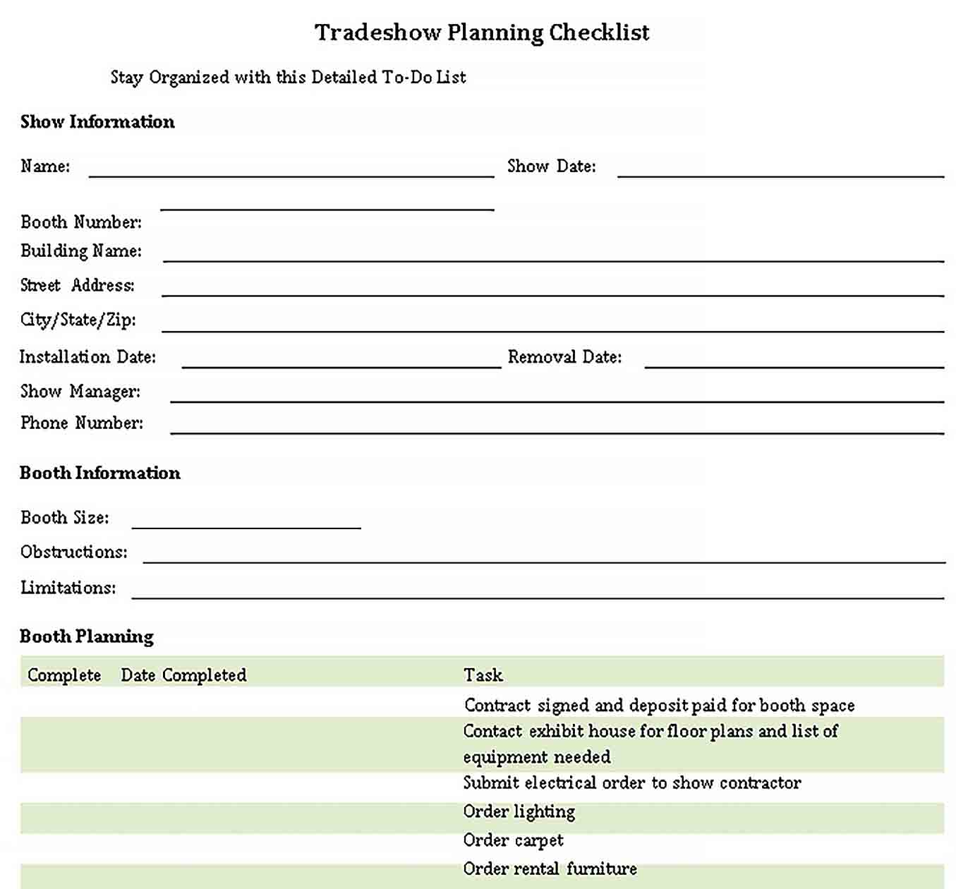 Template Basic Trade Show Planning Checklist