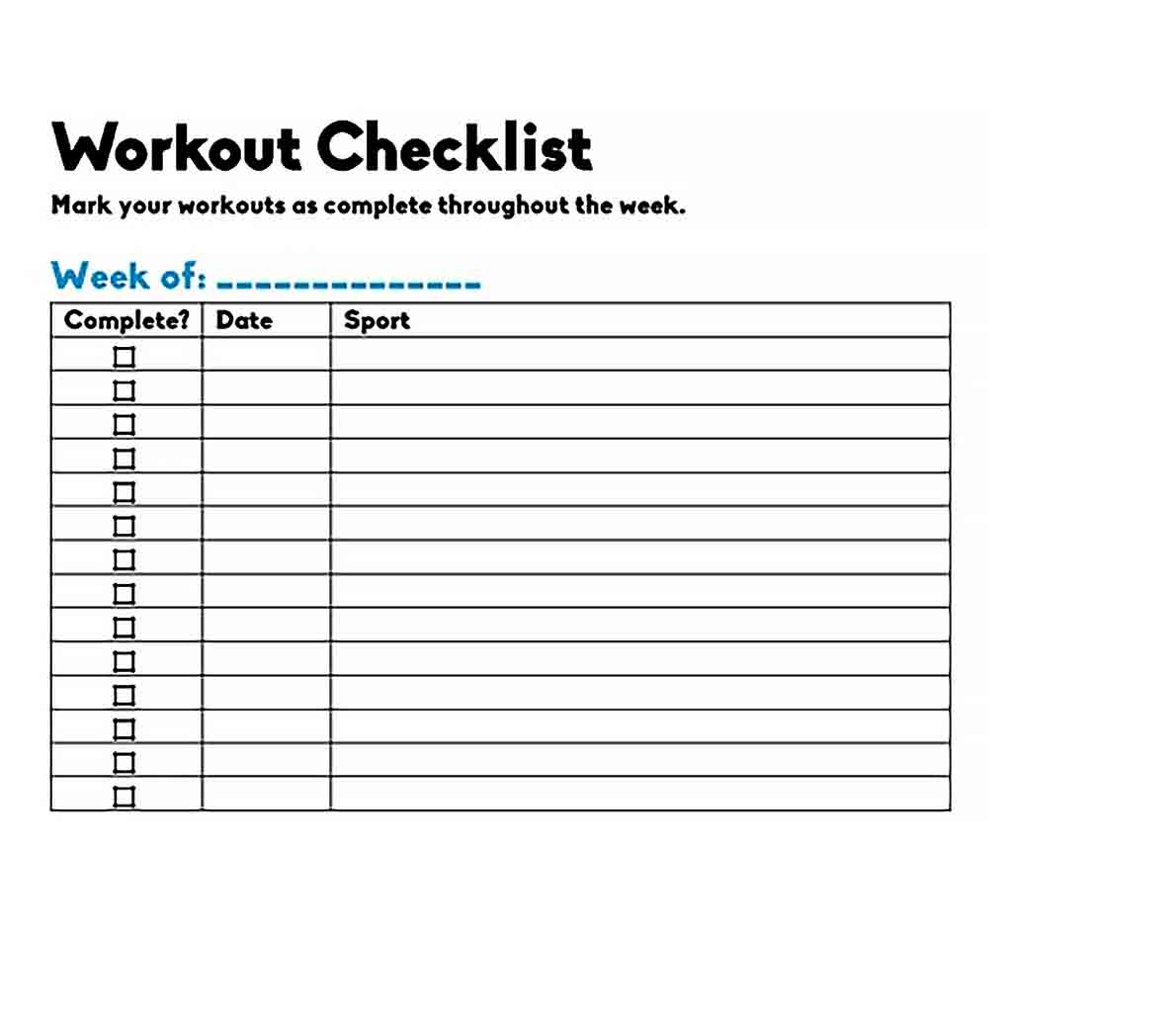 Template Blank Workout Checklist Template