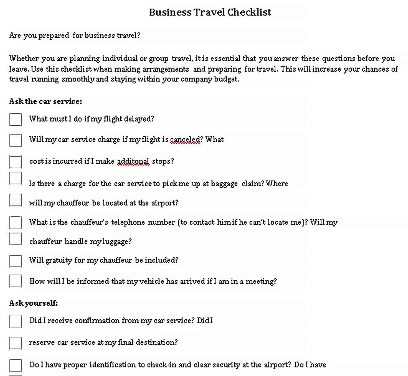 Template Business Travel Checklist