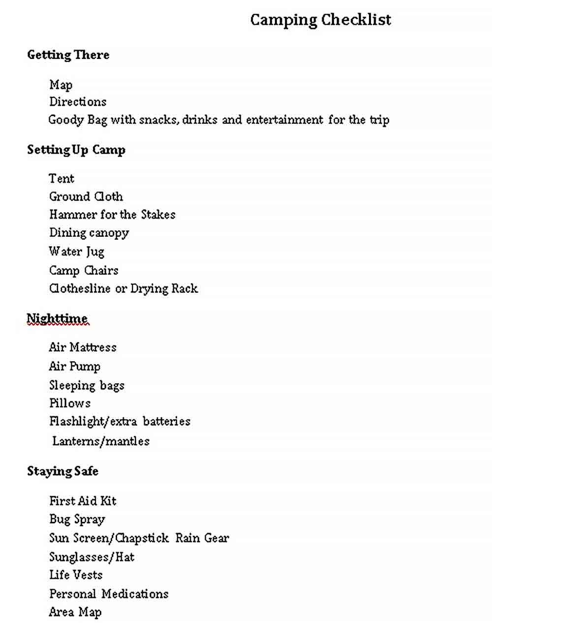 Simple Camping Checklists Template