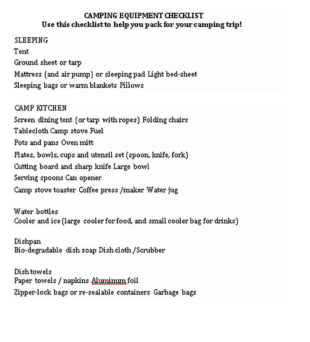 Template Camping Equipment Checklist