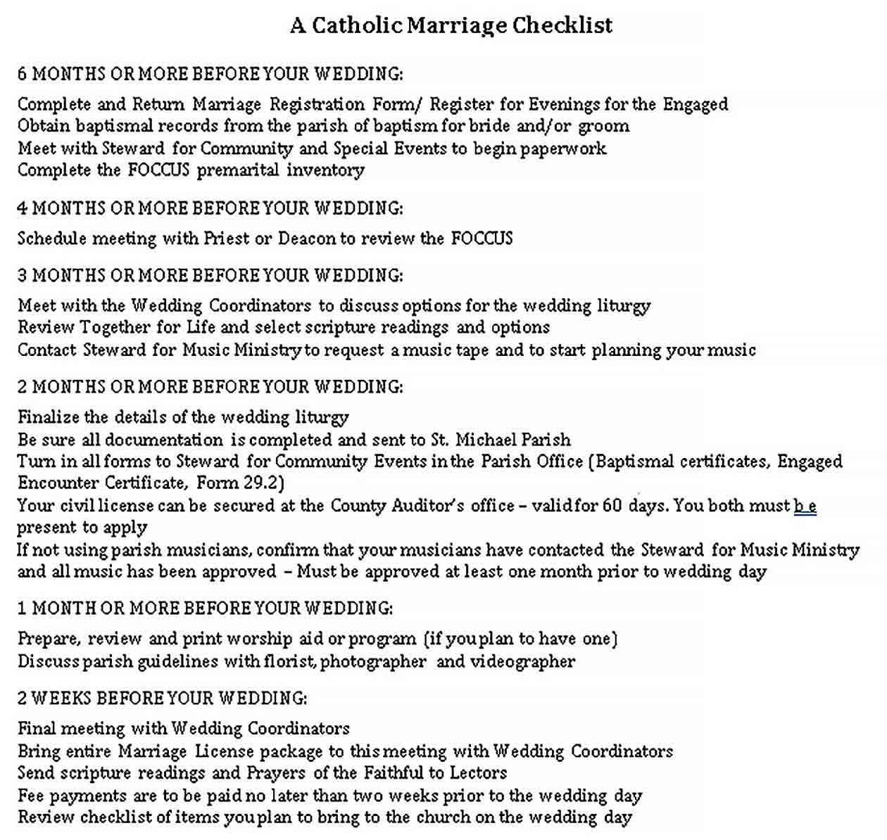 Template Catholic Wedding Checklist 1