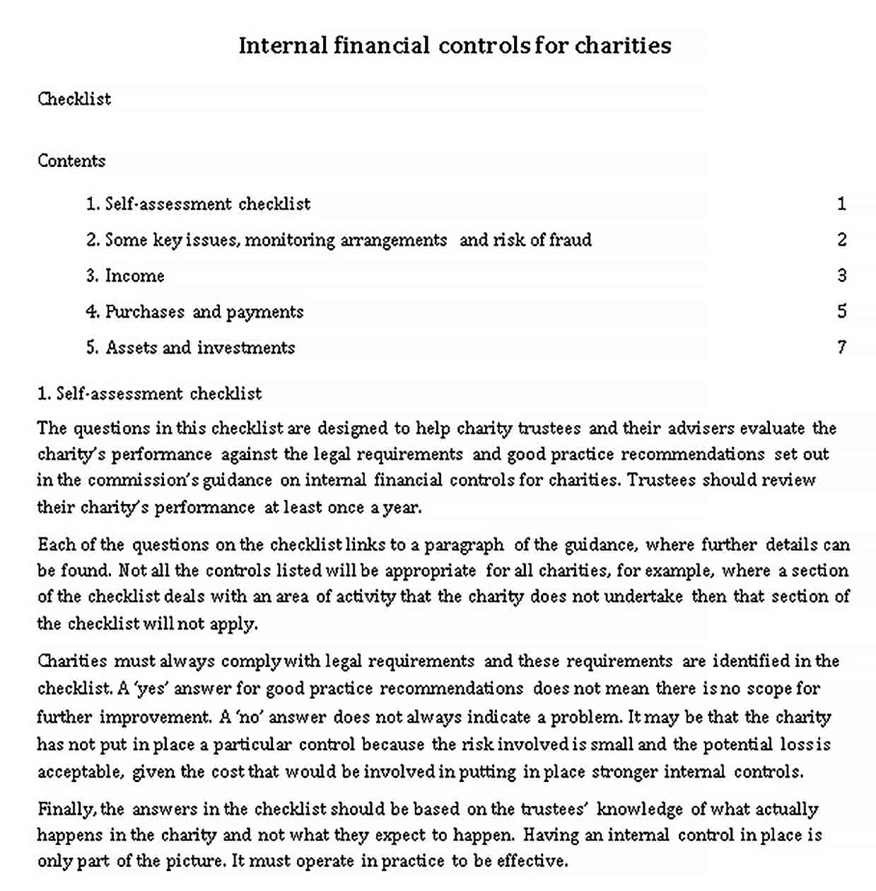 Template Charity Financial Control Checklist Template