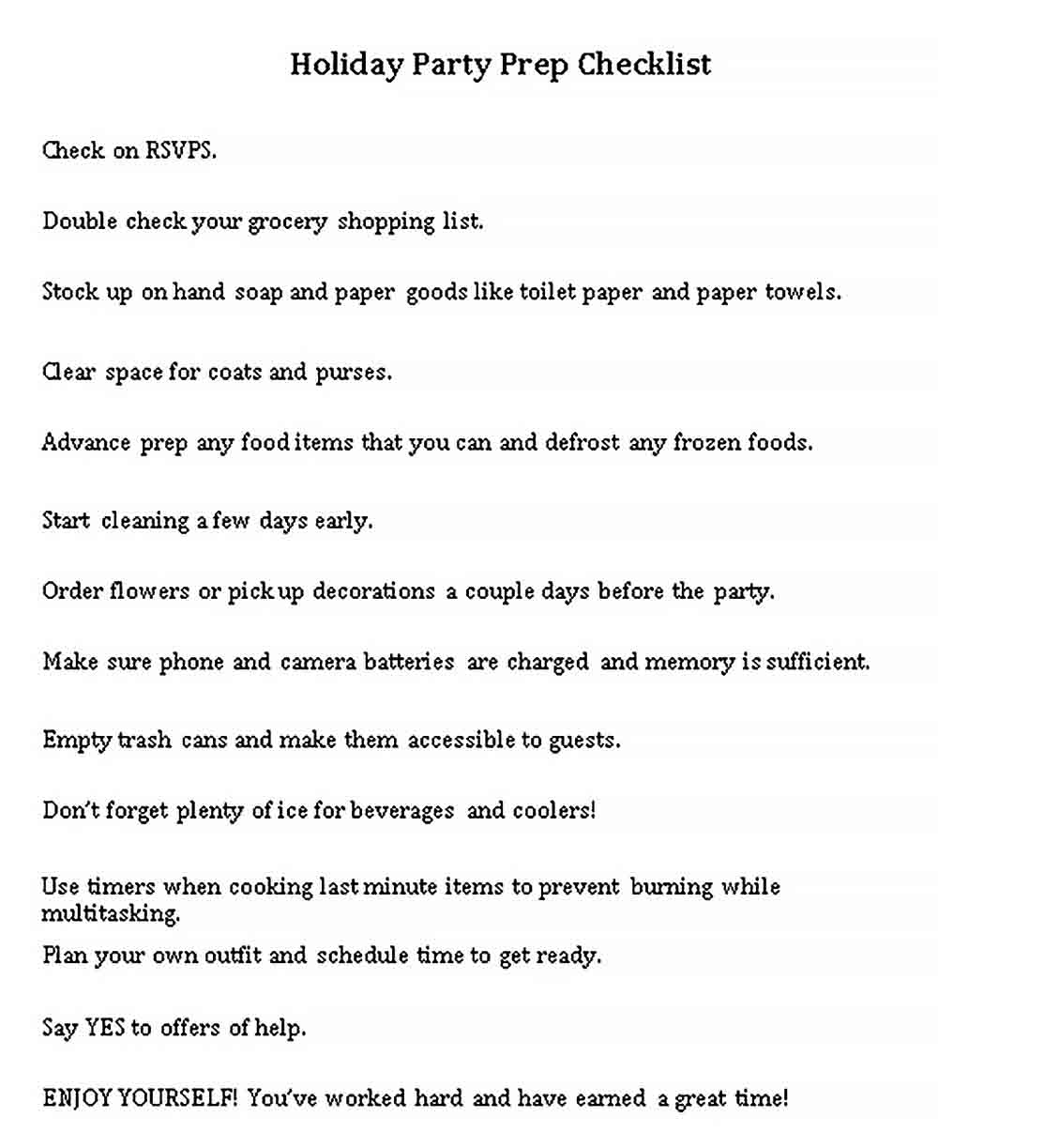 Holiday Checklist Template