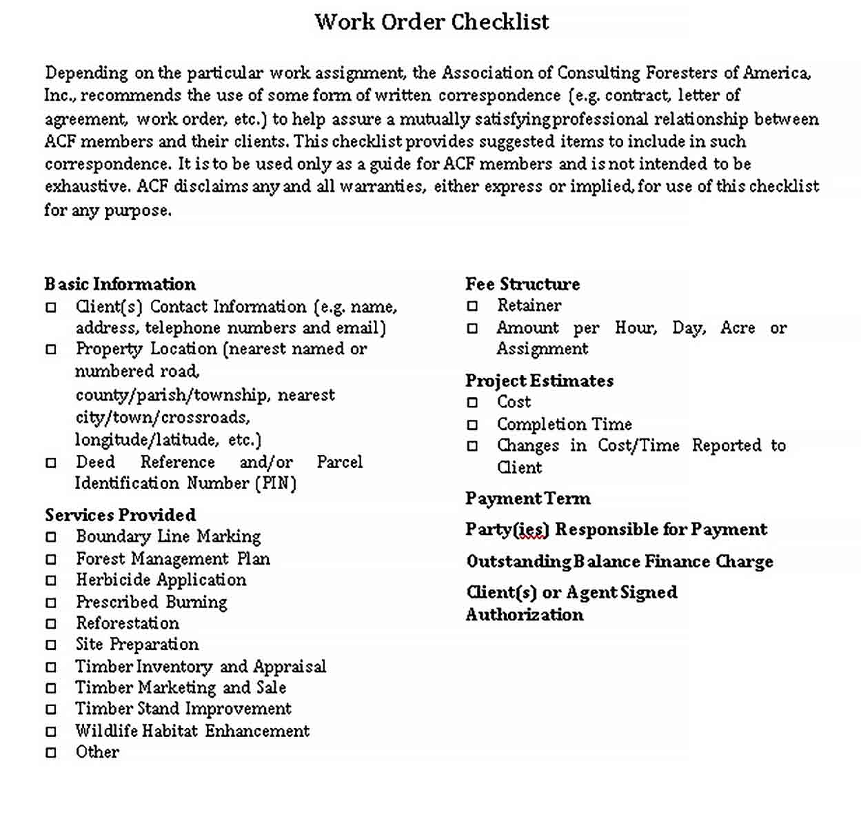 Template Checklist of Work Order