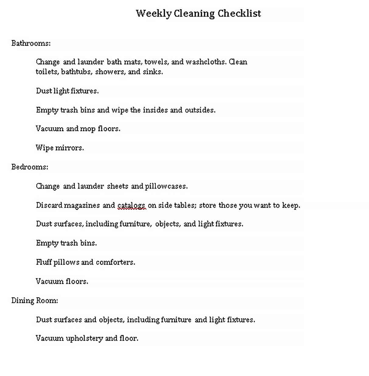 Template Cleaning Weekly Checklist Template