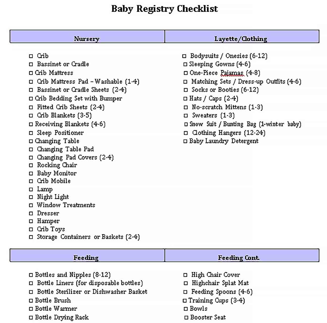 Template Complete Registry Checklist for Baby