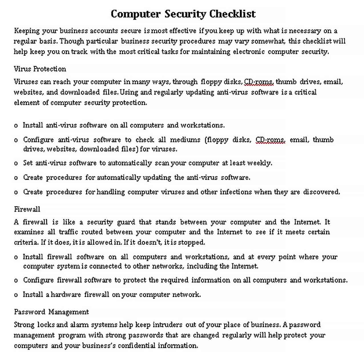 Template Computer Security Checklist Template
