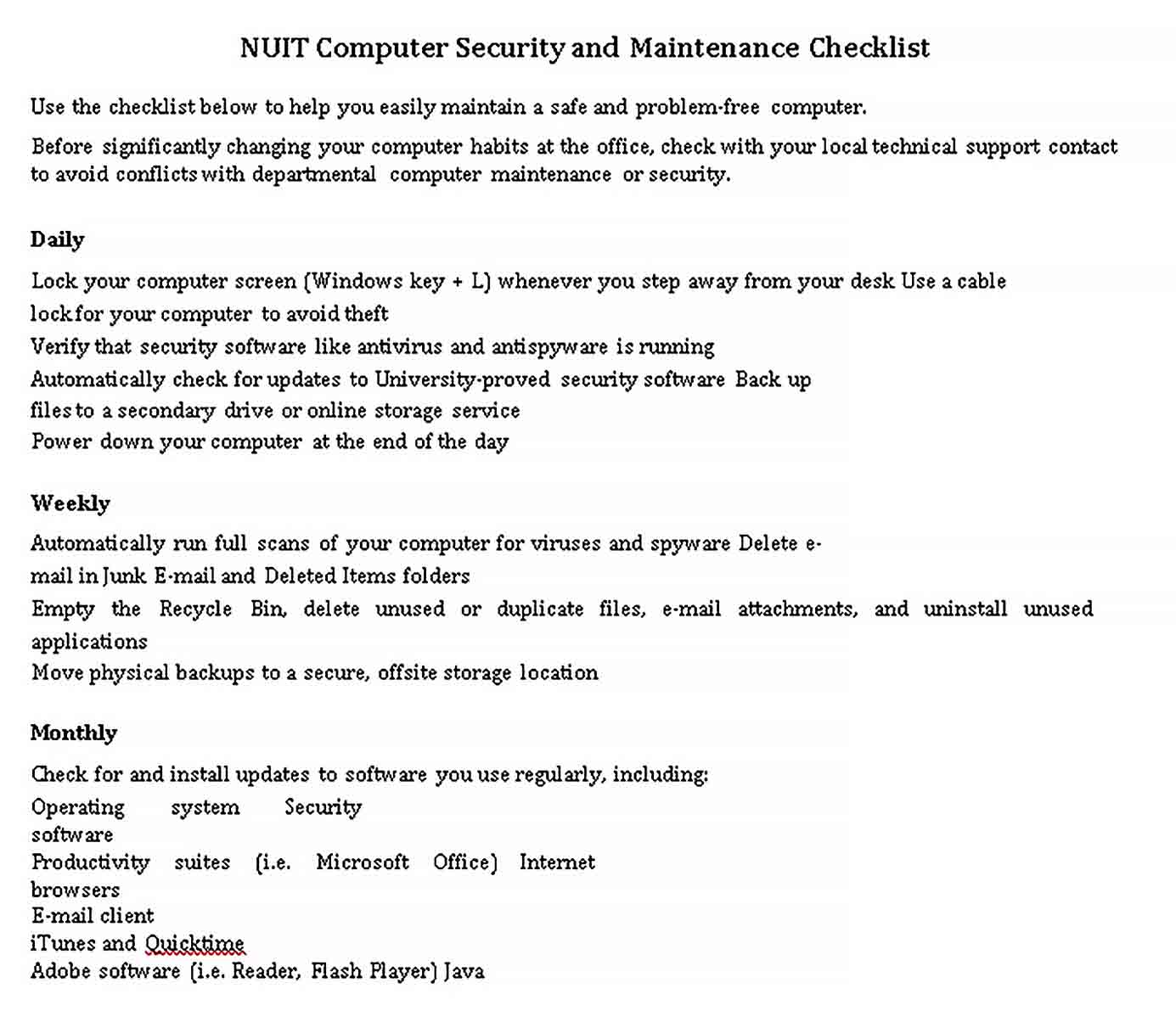 Template Computer Security and Maintenance Checklist Example