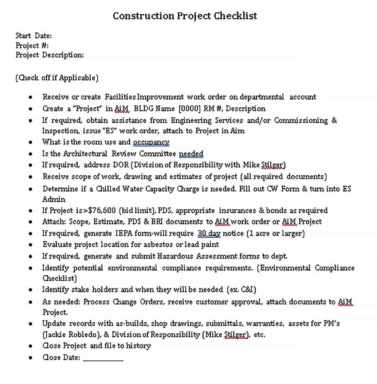 Template Construction Project Checklist Template