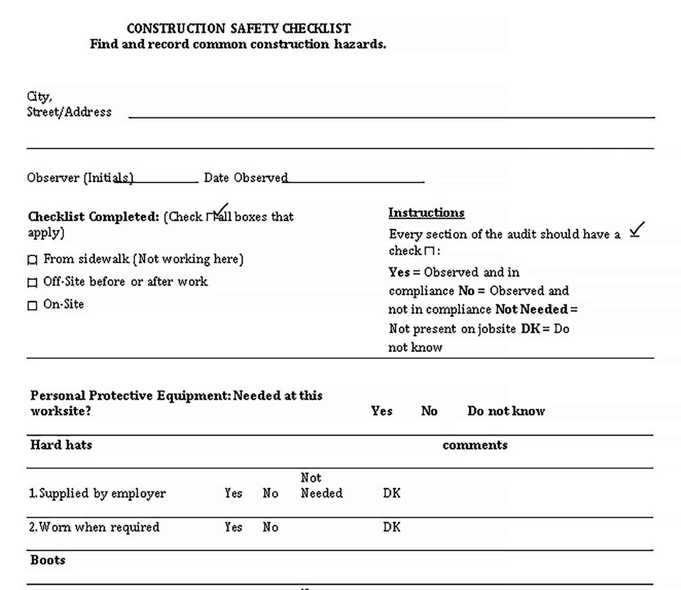 Template Construction Safety Checklist Template