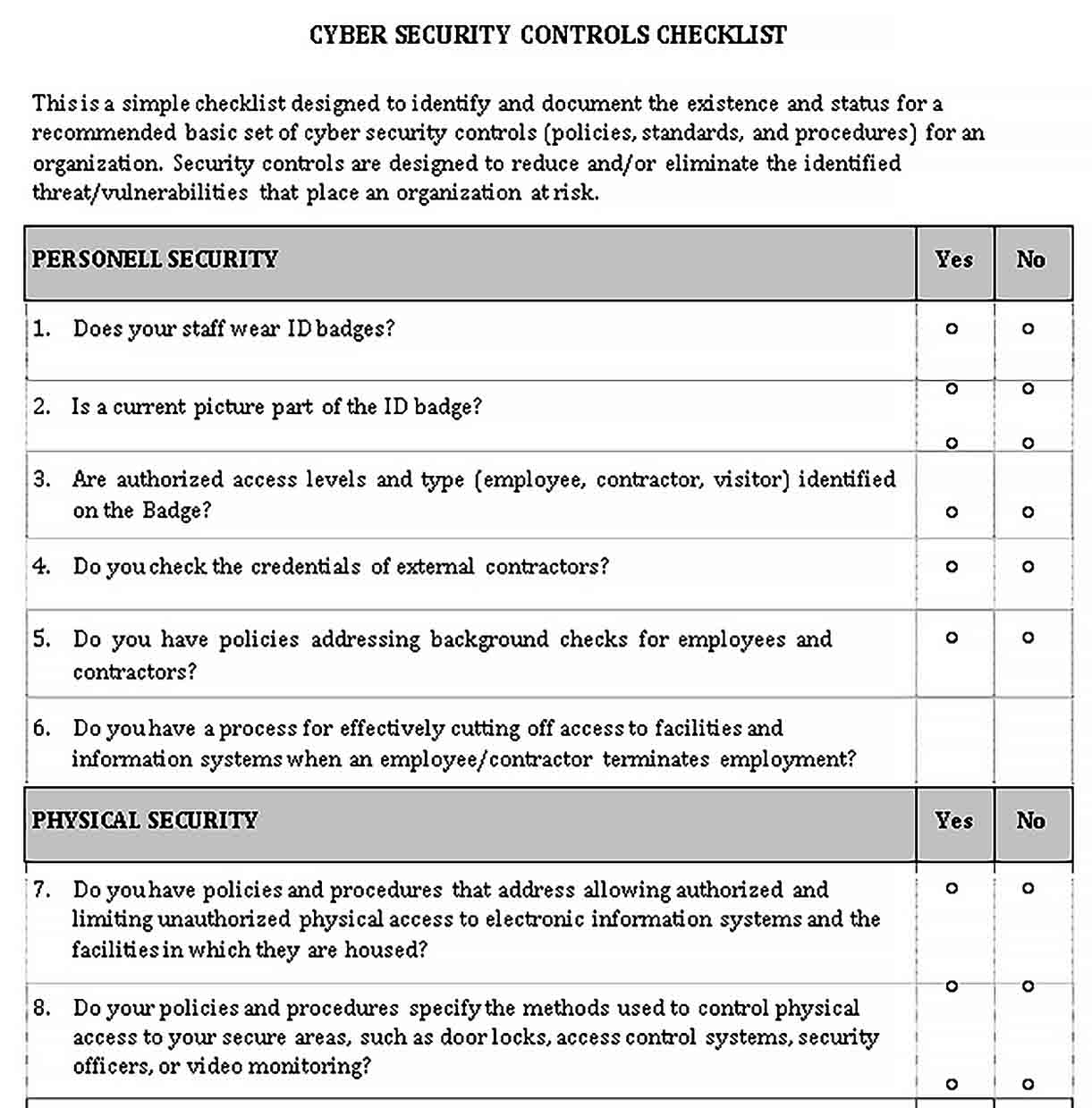 Security Assessment Checklist Template