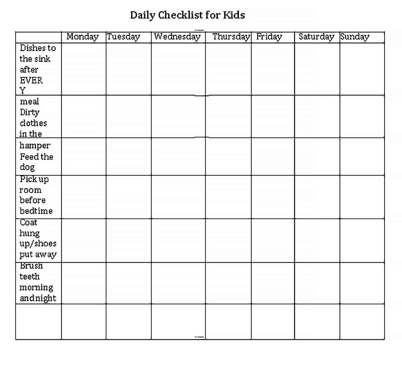 Template Daily Checklist for Kids