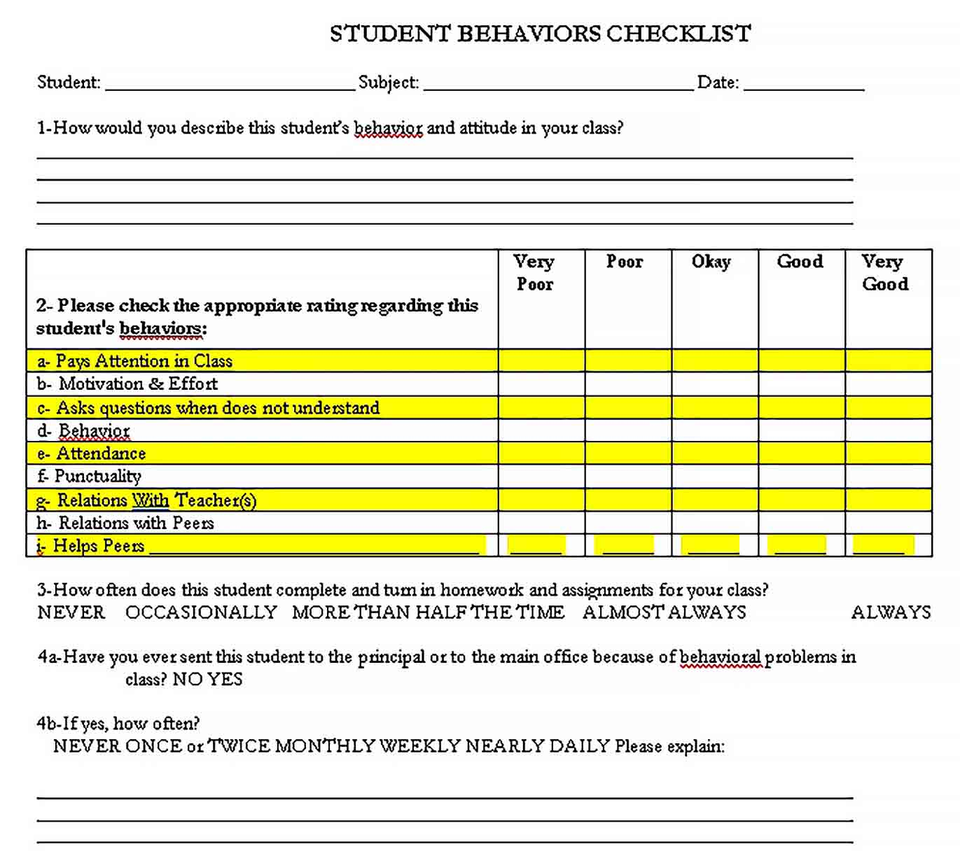 Template Daily Student Behavior Checklist