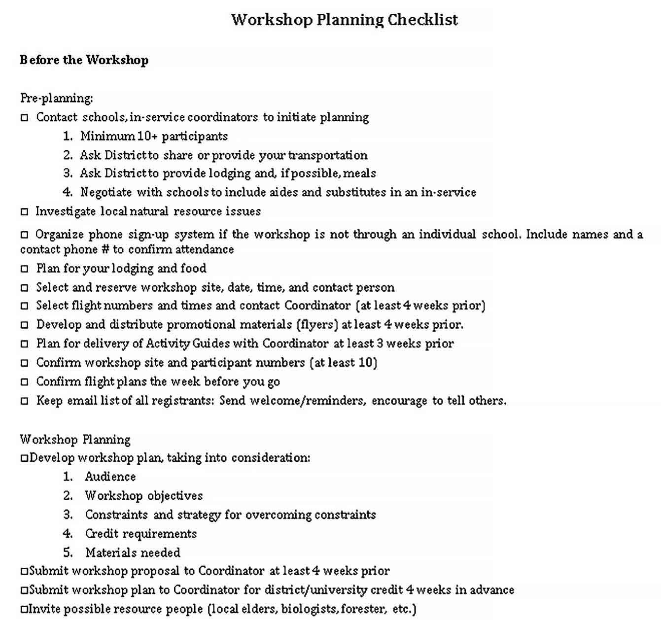 Template Daily Workshop Planning Checklist Sample