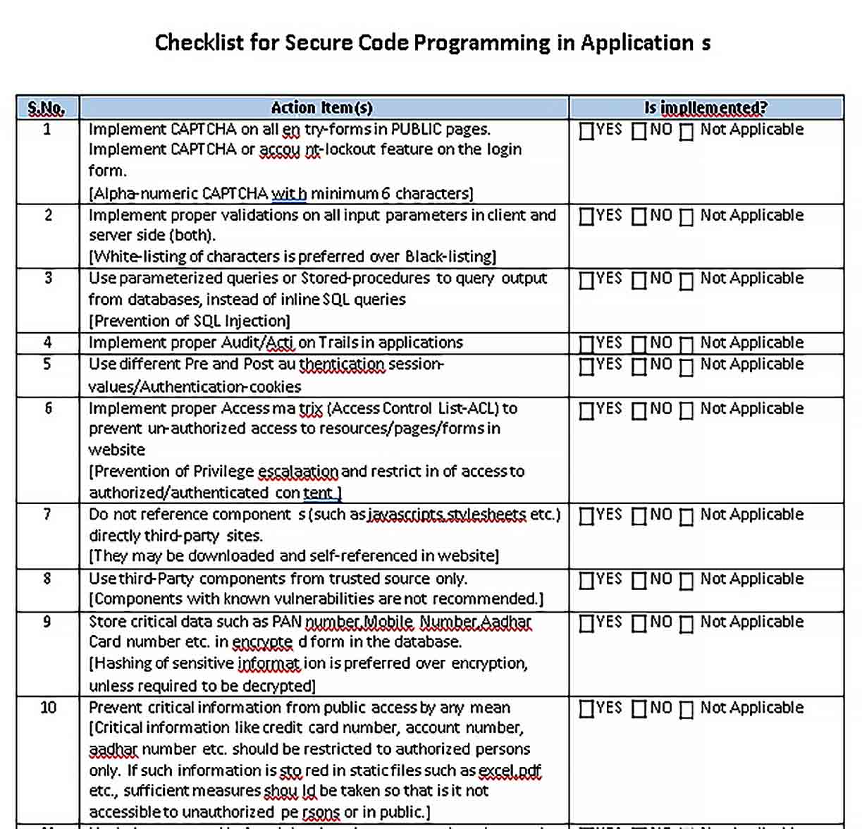 Template Database Security Application Checklist Template