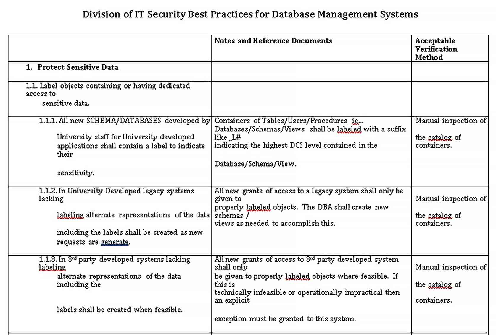 Template Database Security Management Checklsit Template