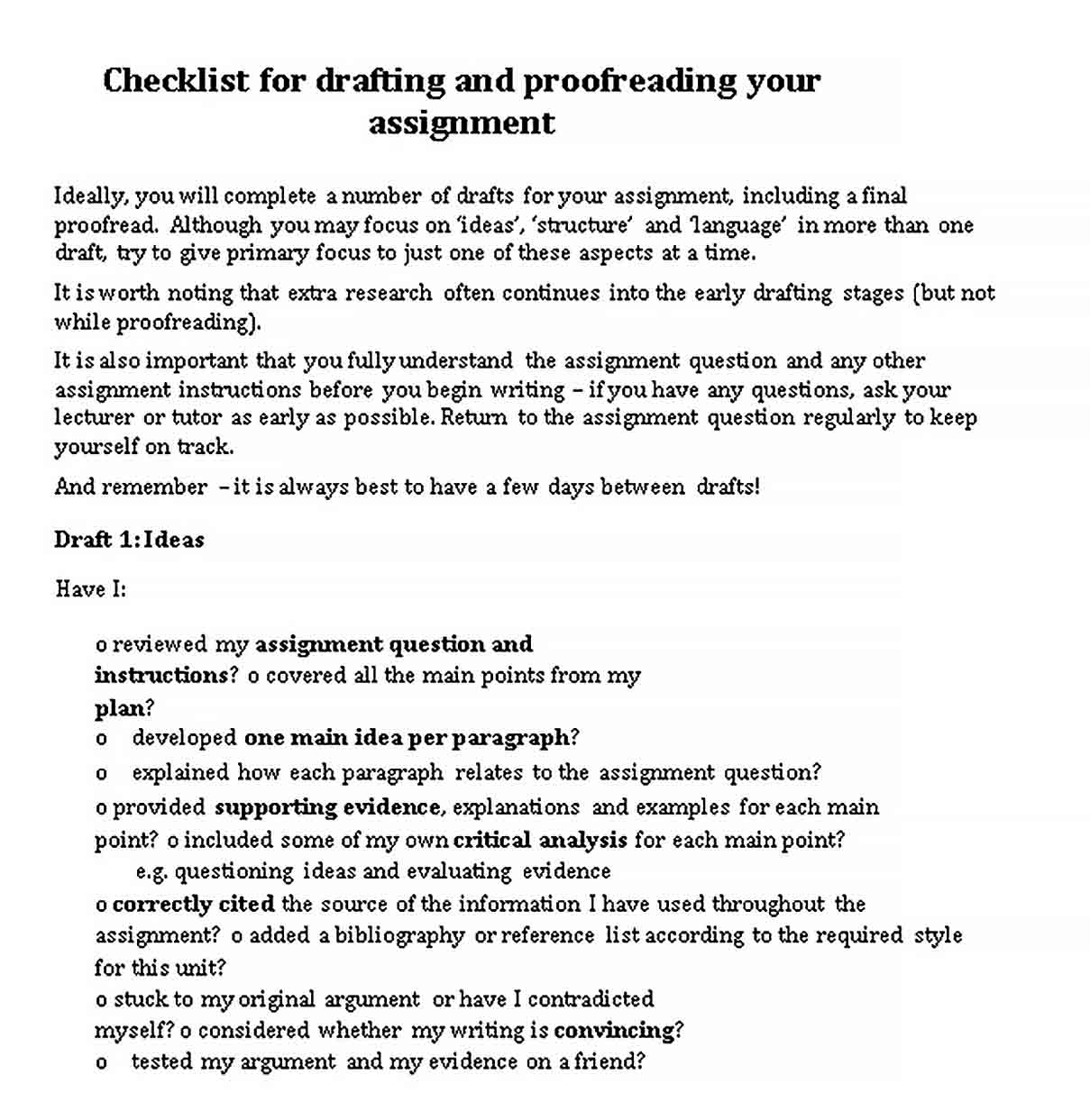 Drafting Checklist Template