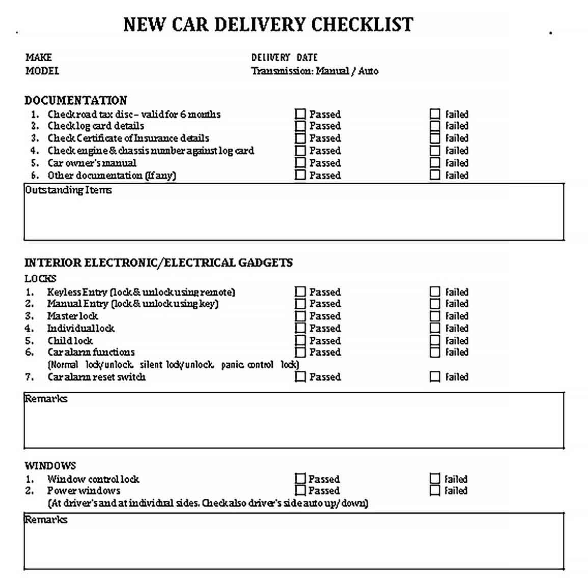 Template Example Delivery Checklist Template