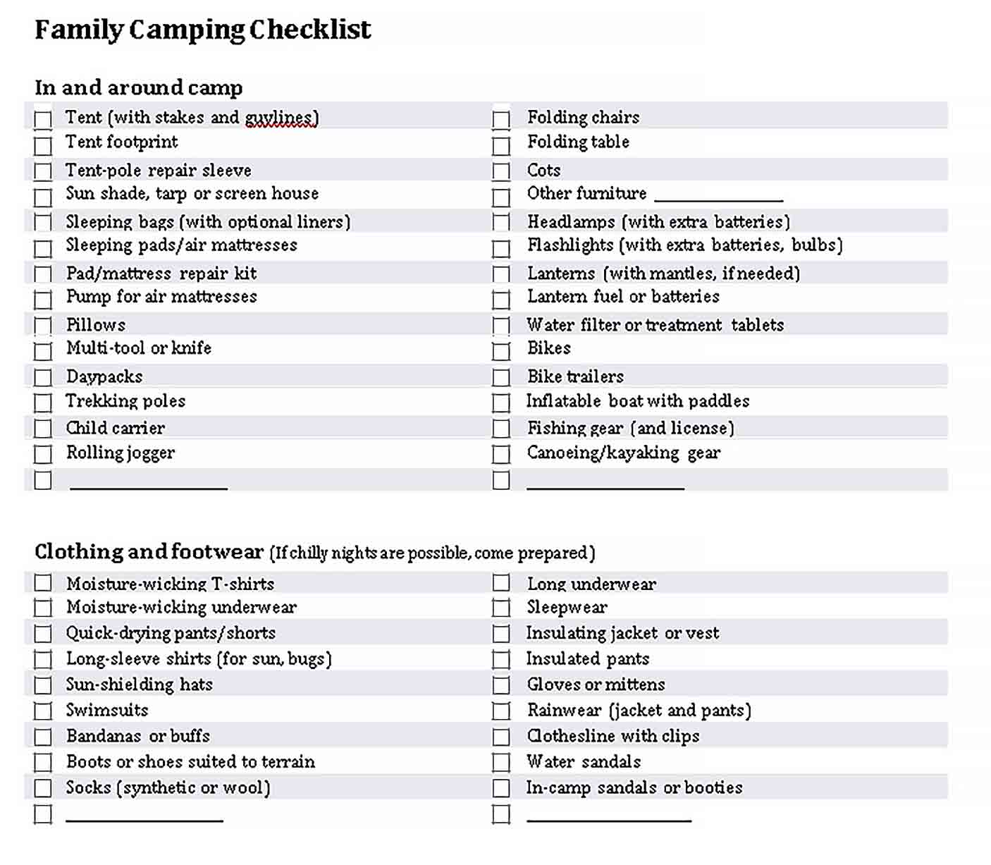 Template Family Vaction Camping Checklist