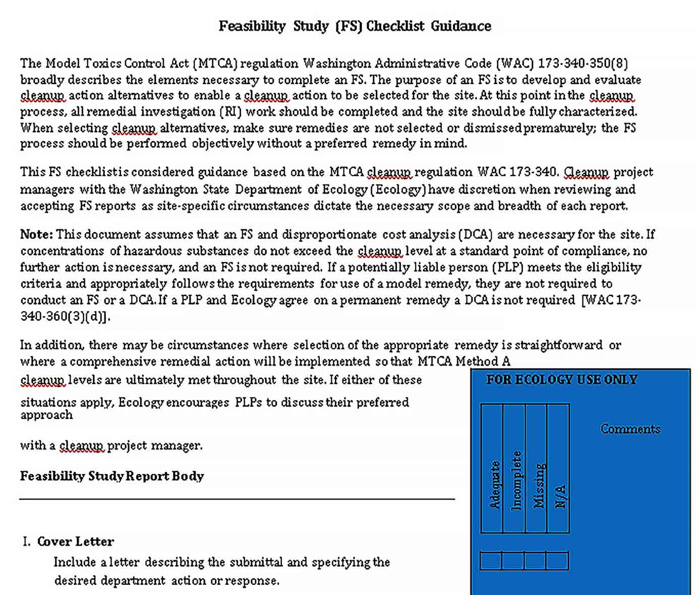 Template Feasibility Study Checklist Template
