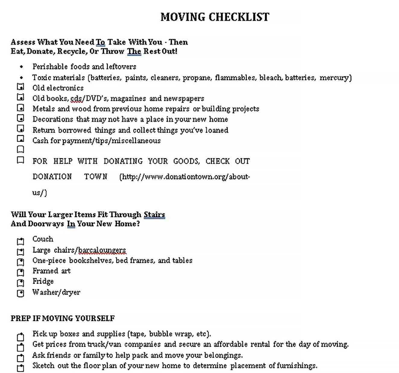 Template Free Moving Checklist Template
