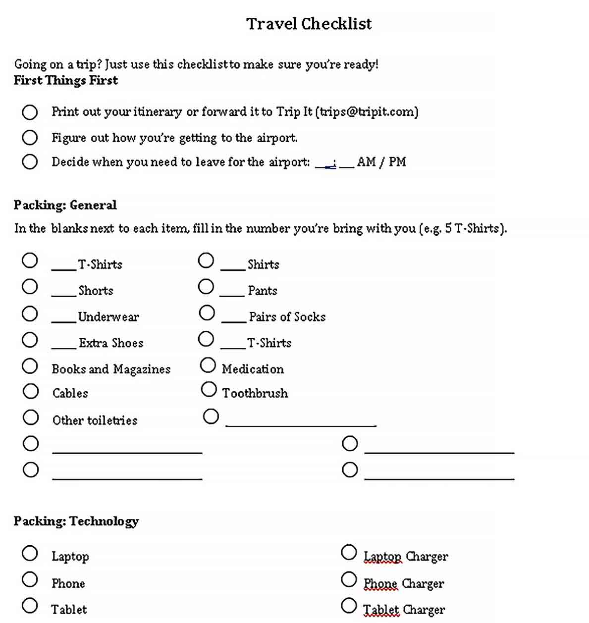 Template Free Travel Checklist