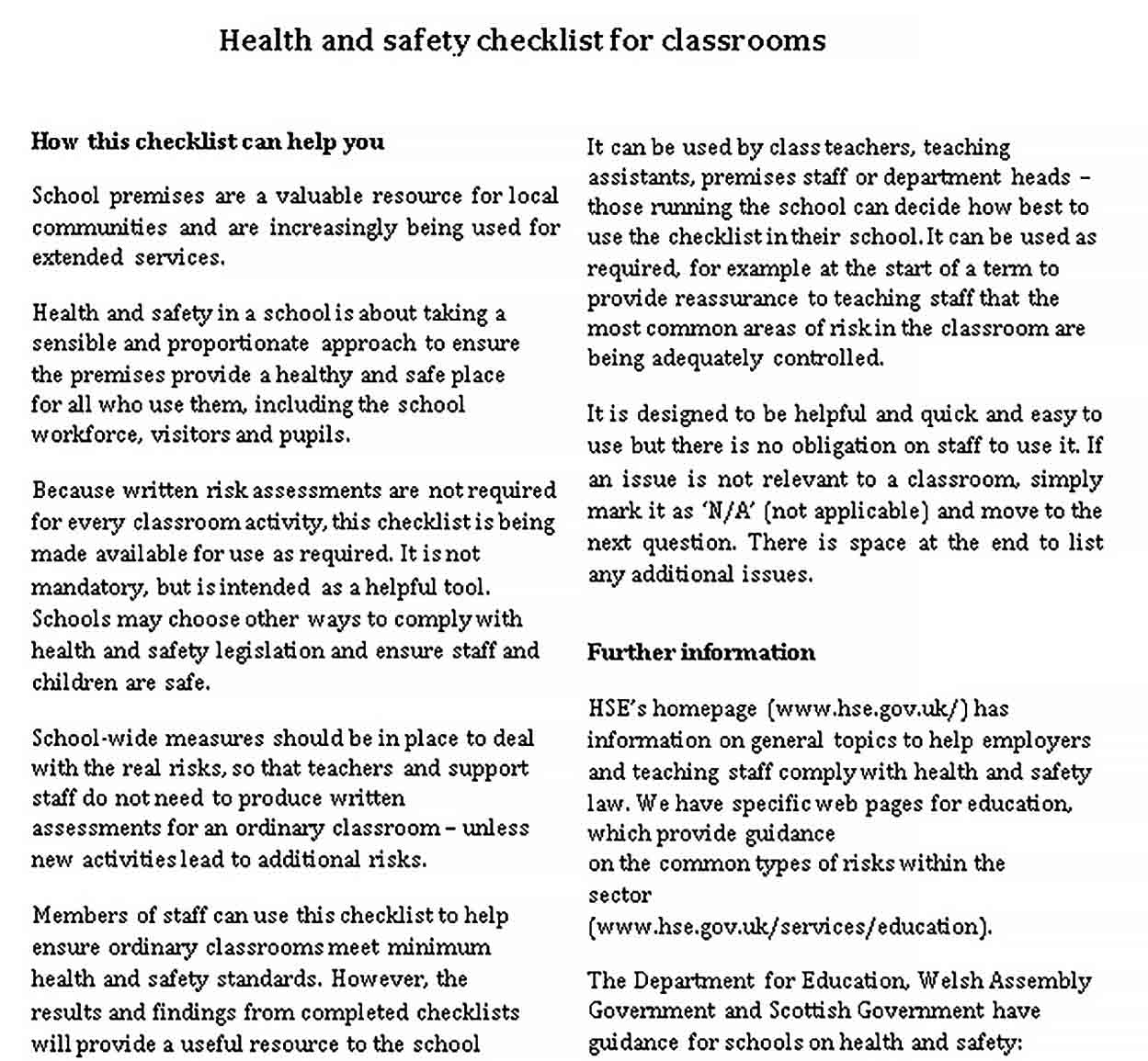 Template Health and safety checklist for Classroom