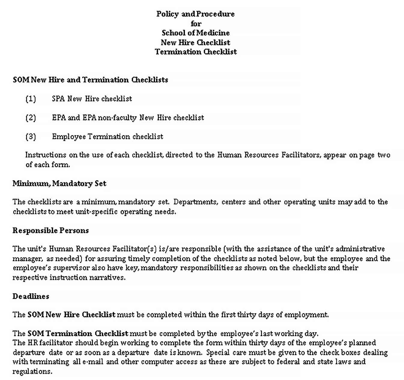 Template Hire and Termination Checklist DOC Format Template