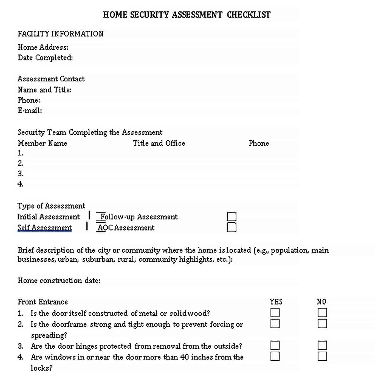 Template Home Security Assessment Checklist