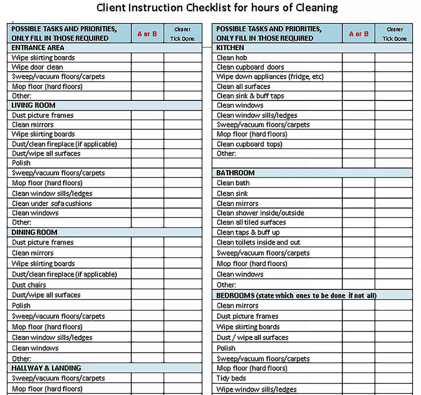 Template House Cleaning Client Instruction Checklist