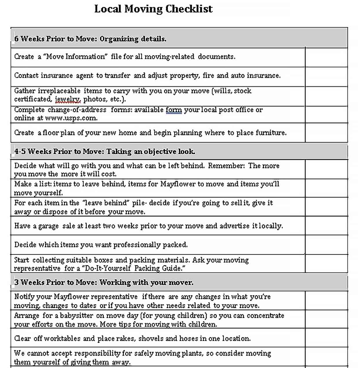 Template Local Moving Checklist Template