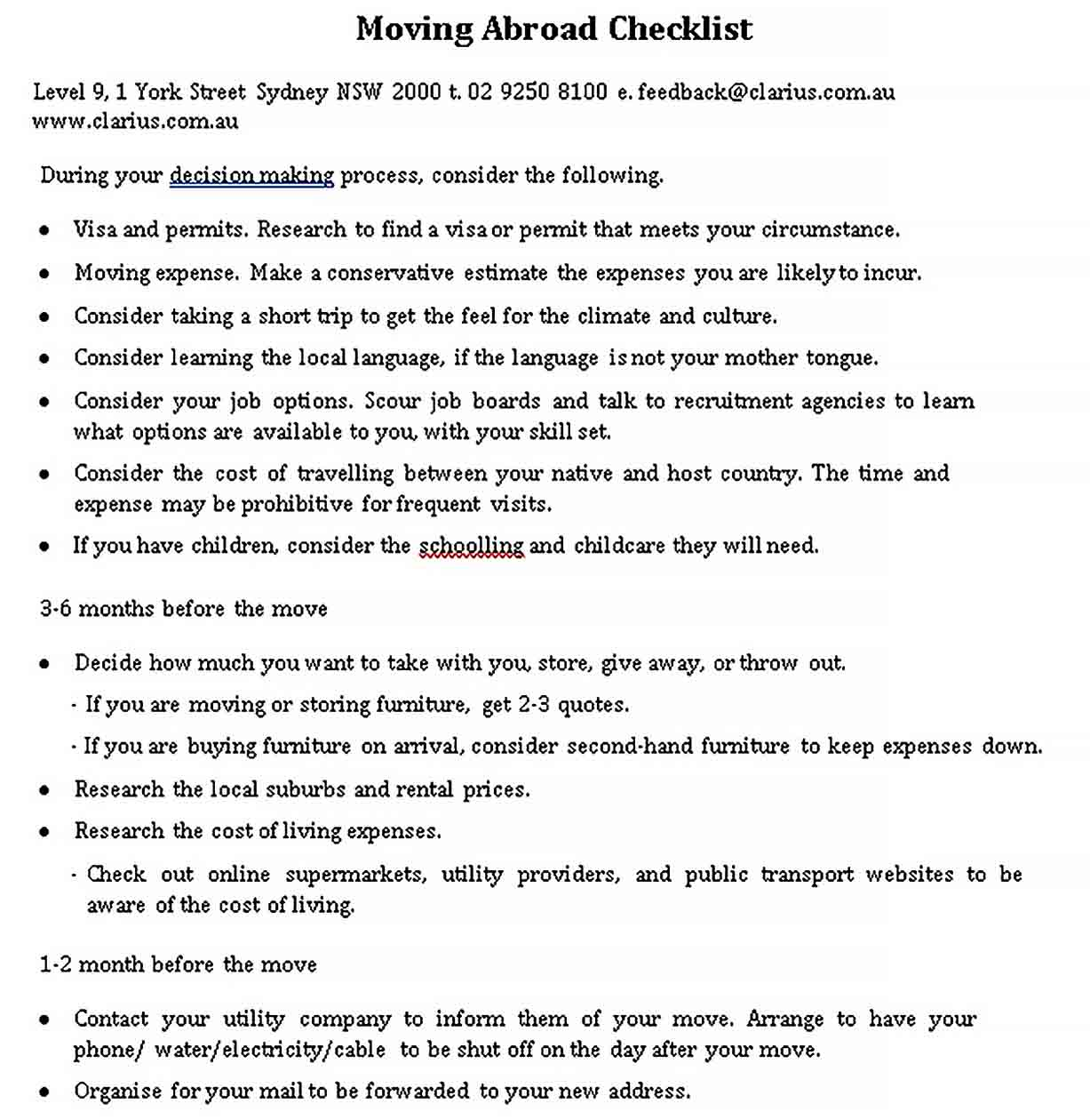 Template Moving Abroad Checklist Template