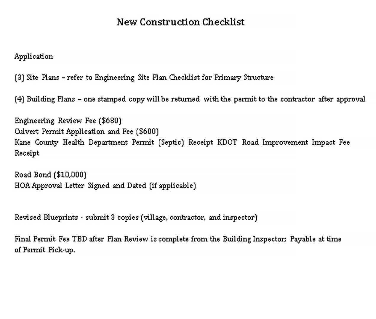 Template New Construction Checklist Template
