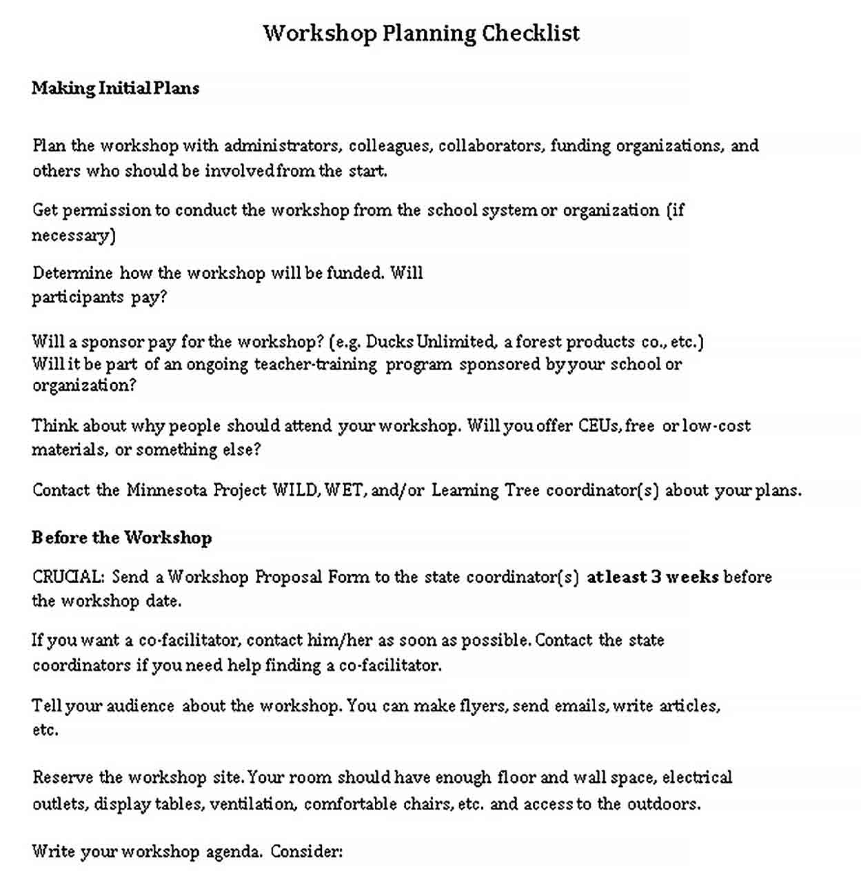 Template One Day Workshop Planning Checklist