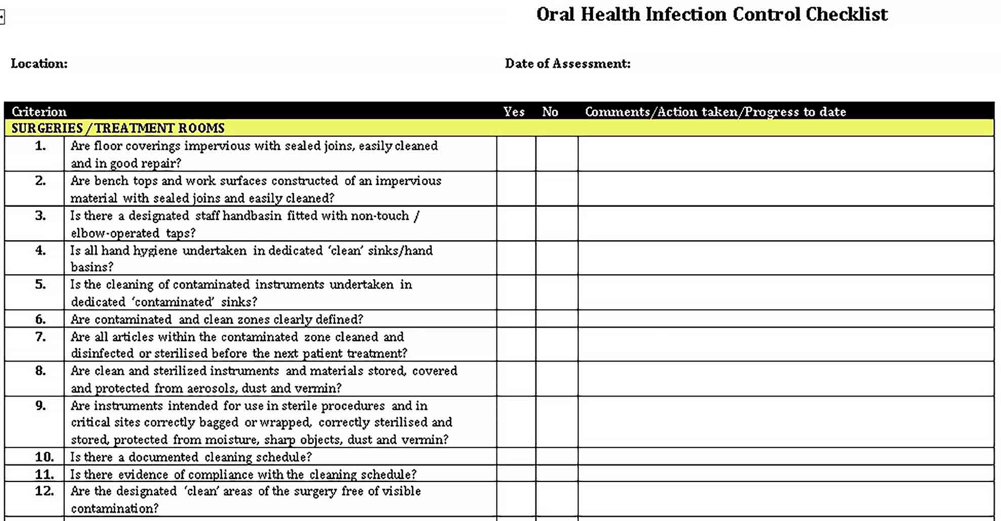 Template Oral Health Infection Control Checklist Template