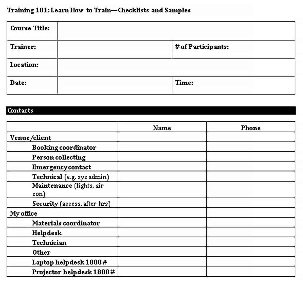 Template PDF Format of Training Checklists Template 1