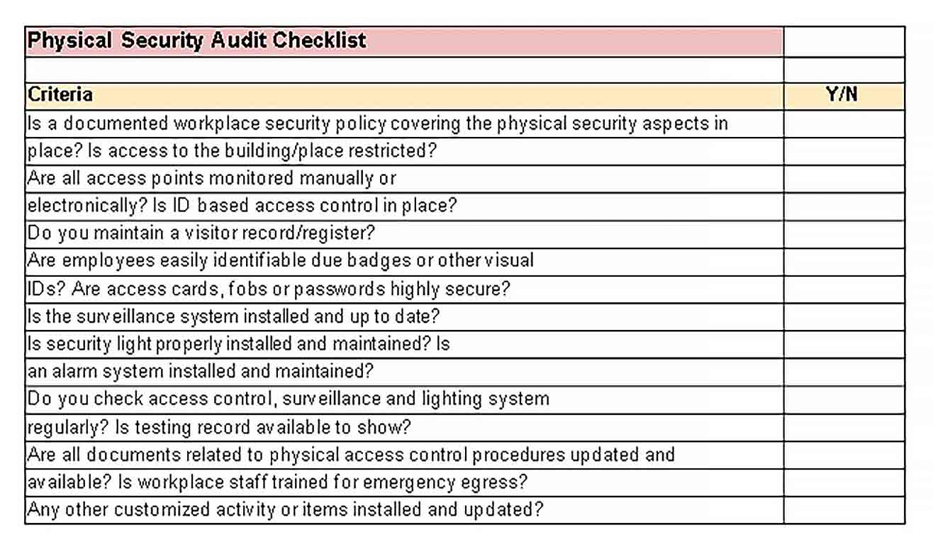 Template Physical Security Audit Checklist Example