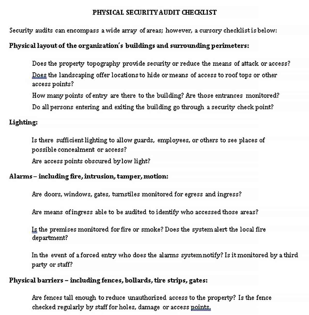 Template Physical Security Audit Checklist Template