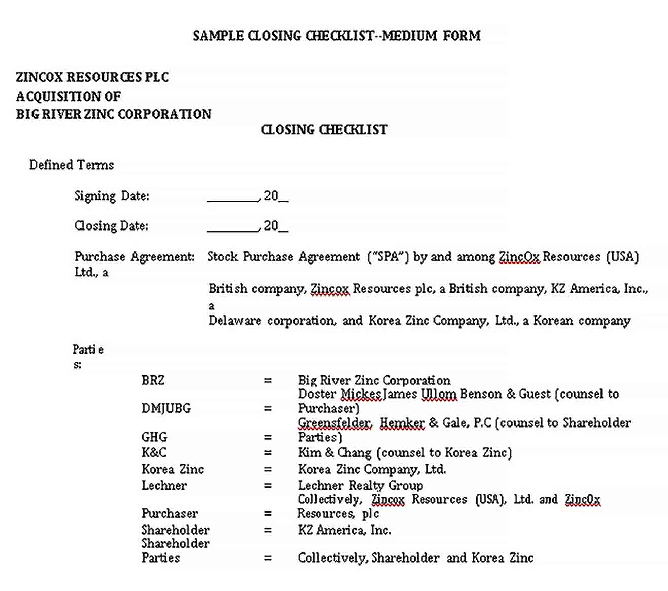 Template Practical Closing Checklist Template