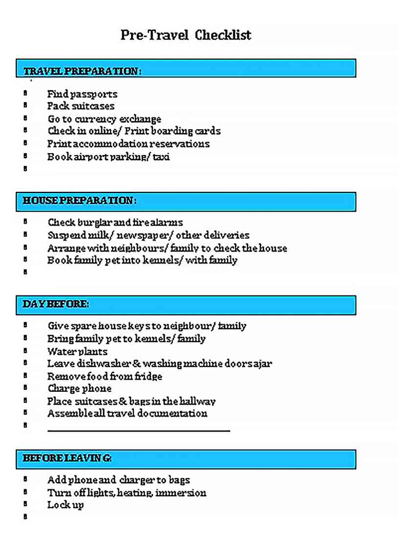 Template Pre Travel Checklist