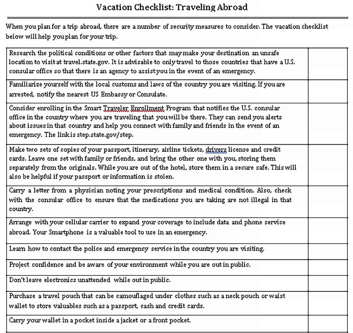 Template Printable Vacation Checklist