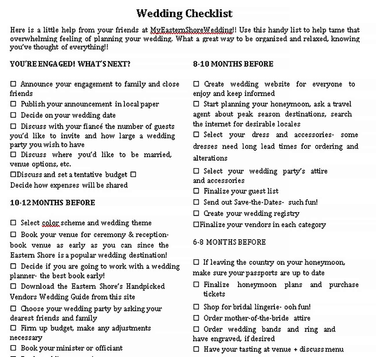 Template Printable Wedding Checklist 1