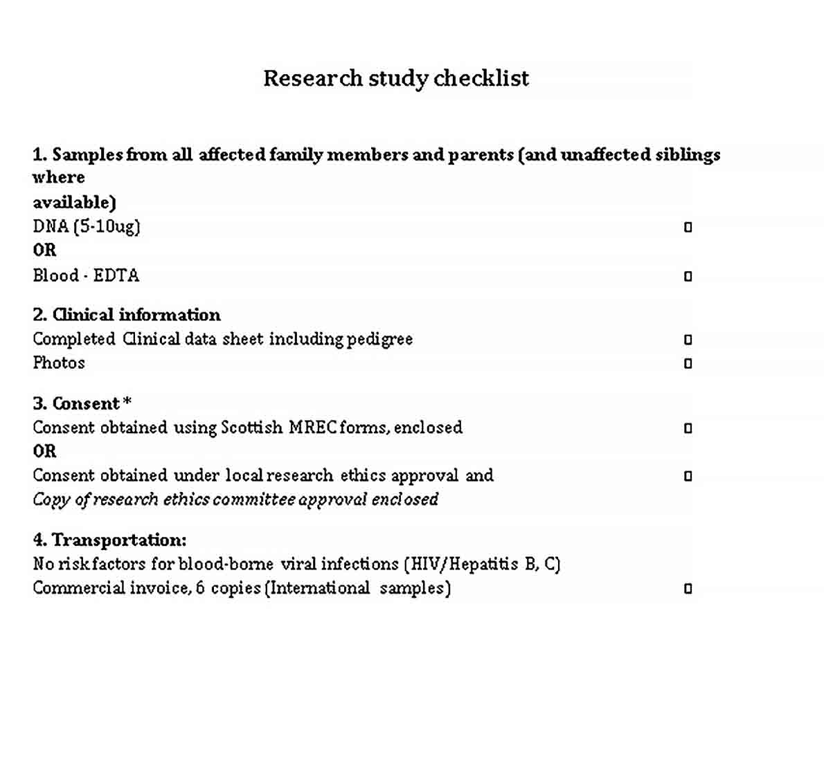 Template Research Study Checklist Template